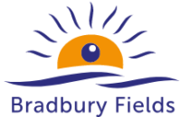Bradbury Fields has an image of a yellow sun with sun rays above which could also be seen as an eye with eyelashes. The organisation name is below this.
