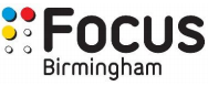 """Focus Birmingham logo says """"Focus Birmingham"""" in black font on a white background. To the left are 2 columns of 3 dots in blue, red, yellow and 3 which are white."""
