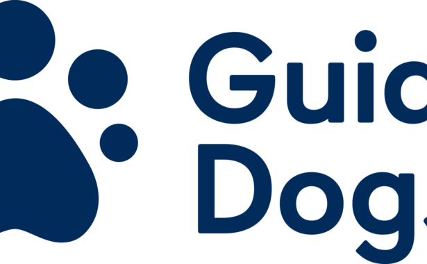 Image is the Guide Dogs logo in navy blue text. There is a paw print the left of the text.