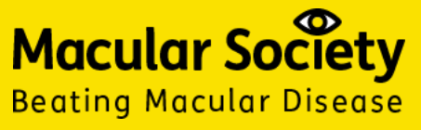 """Macular Society logo has an image of an eye in place of the dot for the letter """"i"""" in """"Society"""". Underneath it says """"Beating Macular Disease""""."""