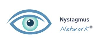 Image of Nystagmus Network logo has image of a blue eye on the left hand side.