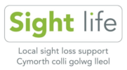 """Image of Sight Life logo with strapline """"Local sight loss support, Cymorth colli golwg lleol"""""""