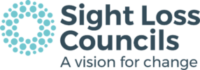 """Sight Loss Council logo has a circle with three rings of different sized circles in light blue and white space in the centre. Next to this on the right, it says """"Sight Loss Councils"""" with strapline """"A vision for change""""."""