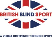 """British Blind Sport logo with name of organisation through the middle of a rugby ball with a union jack design. Underneath is a strapline """"A visible difference through sport""""."""
