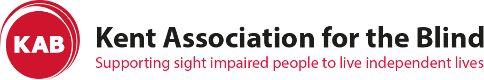 """Kent Association for the Blind logo with a strapline underneath says """"Supporting sight impaired people to live independent lives"""". On the left hand side is a red circle. Inside the circle it says """"KAB"""" in white font."""