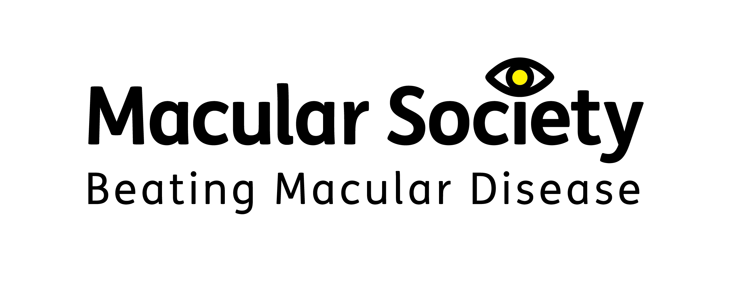 Image is Macular Society logo with strapline Beating Macular Disease