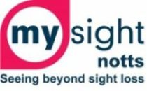"""My Sight Nottinghamshire logo with """"My"""" inside the white circle of a red eye on the left hand side. Under the name is a strapline """"Seeing beyond sight loss""""."""