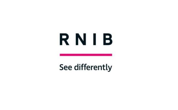 Image is the RINB logo. RNIB is in black text above a pink line. See Differntly is written underneath the pink line