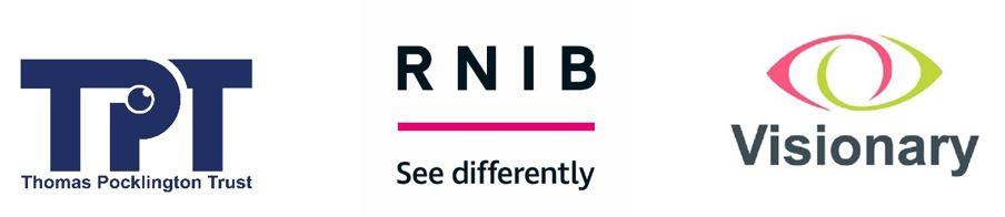 Image is 3 logos - Thomas Pocklington Trust, RNIB and Visionary