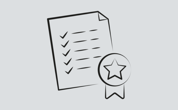 Image is a drawing of a tick list and award rosette