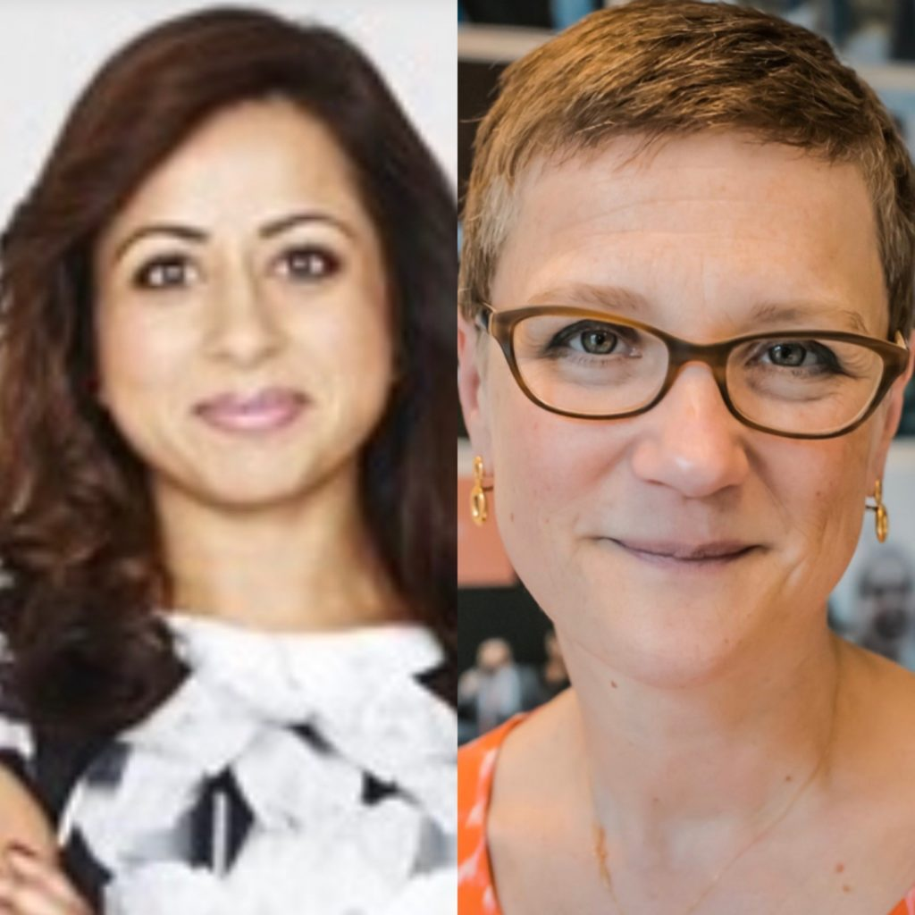 Image is made up of two photos. Dr Nikita Kanani to the left and Lucy Caldicott to the right