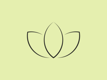Image depicts a line drawing of a lotus flower representing well being
