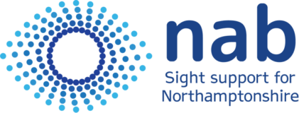 """Northamptonshire Association for the Blind logo says """"NAB"""" with a strapline underneath """"Sight support for Northamptonshire"""". On the left hand side is an image of an eye made up of dots with going from dark blue on the inside to light blue on the outside."""