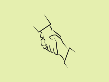 Image is a line drawing of two holding hands representing connecting people