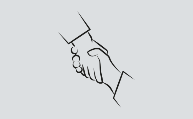 Image is outline drawing of two hands supporting each other or shaking hands