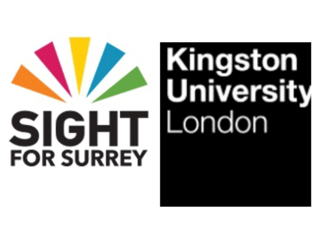 Image is logo of Sight for surrey and Kingston University London side by side