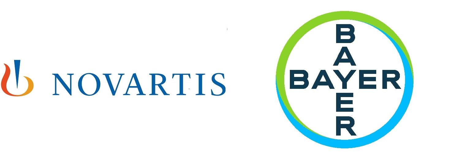 Image isthe Novartis and Bayer logo side by side