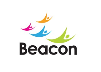 """Beacon logo of 4 people in a """"v"""" formation coloured in orange, pink, blue and green. Underneath it says """"Beacon""""."""