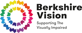 """Berkshire Vision logo has a rainbow coloured circle on the left hand side and another smaller rainbow circle coloured inside. On the right hand side it says """"Berkshire Vision Supporting the Visually Impaired""""."""