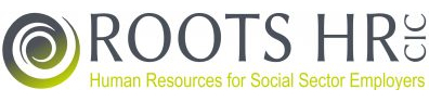 """Roots HR CIC logo with strapline """"Human resources for social sector employers""""."""