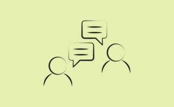 Image depicts a line drawing of two people talking representing communications and campaigns