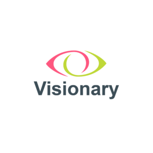 """Visionary logo on a white background. Above the word """"Visionary"""" is a stylised eye with one section in lime green and one section in pink."""